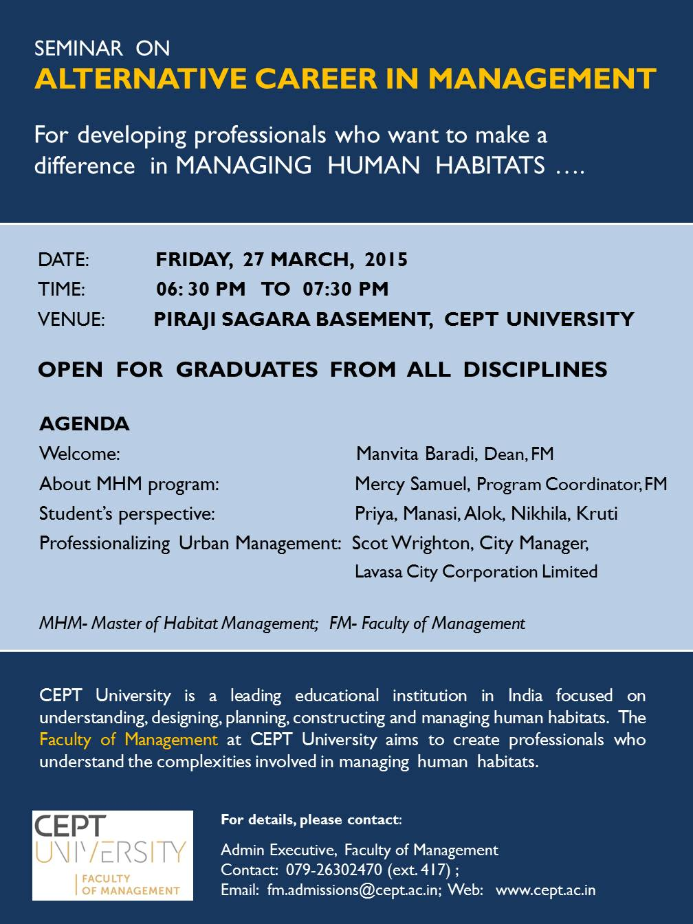 Fm Seminar Alternative Career In Management Event Cept