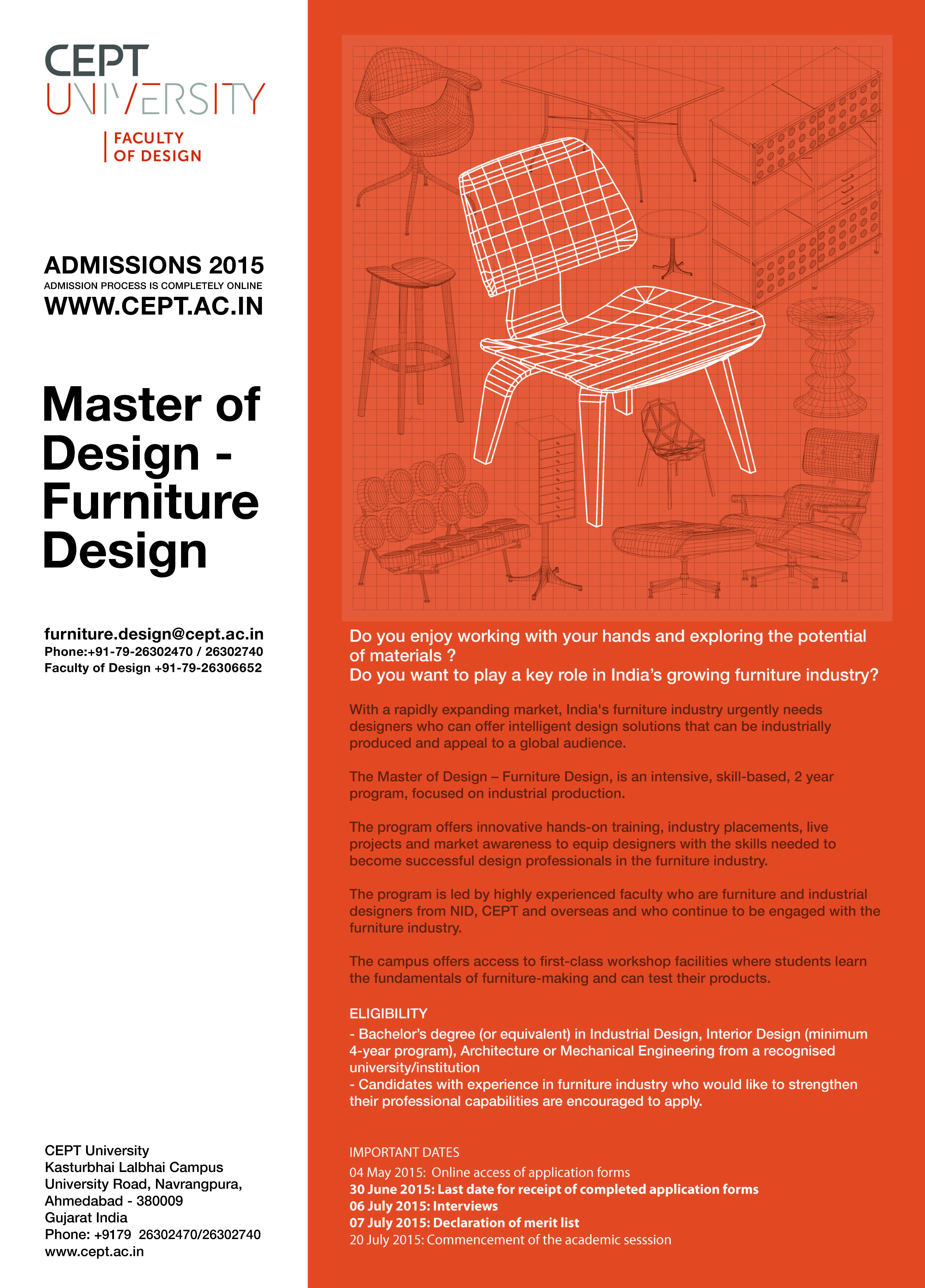 17 11 2017. Admission Open  New PG Program Master of Design   Furniture Design